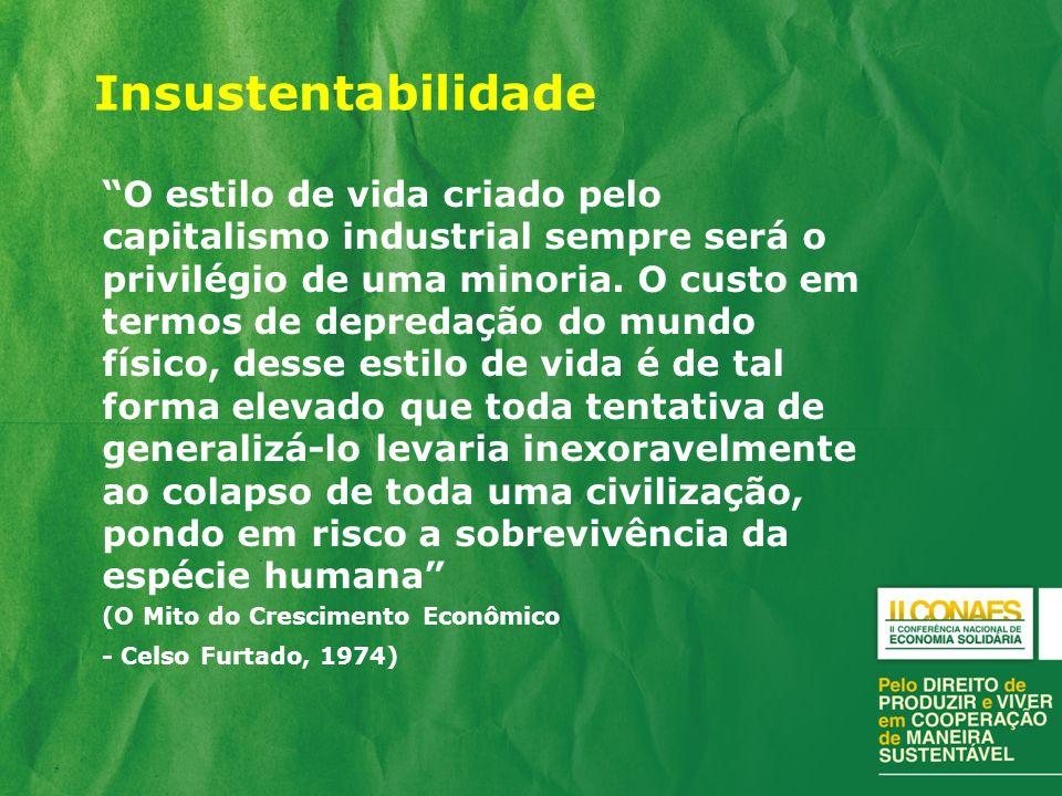Insustentabilidade O estilo de vida criado pelo capitalismo industrial sempre será o privilégio de uma minoria.