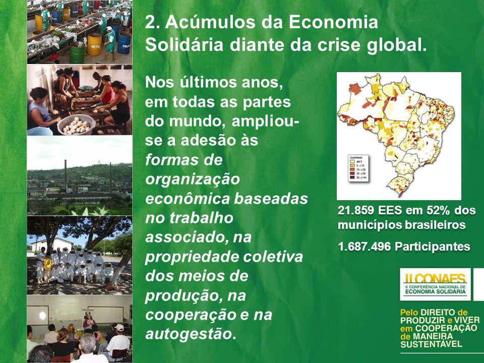 2. Acúmulos da Economia Solidária diante da crise global. Nos últimos anos, em todas as partes do mundo, ampliou- se a adesão às formas de organização