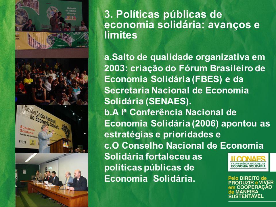 3. Políticas públicas de economia solidária: avanços e limites a.Salto de qualidade organizativa em 2003: criação do Fórum Brasileiro de Economia Soli