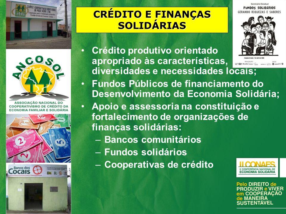 Crédito produtivo orientado e apropriado às características, diversidades e necessidades locais; Fundos Públicos de financiamento do Desenvolvimento d