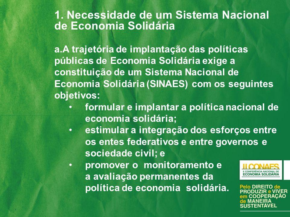 1. Necessidade de um Sistema Nacional de Economia Solidária a.A trajetória de implantação das políticas públicas de Economia Solidária exige a constit