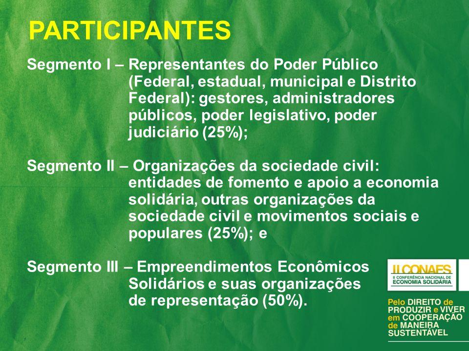 Políticas públicas de Economia Solidária; Criação e fortalecimento dos mecanismos de participação e controle social (conselhos de gestão social, conferências, etc.); Fortalecimento das organizações da sociedade civil (fóruns e redes) de Economia Solidária.
