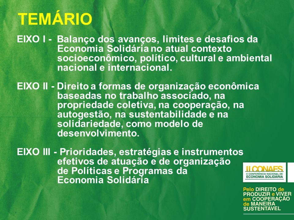 EIXO I - Balanço dos avanços, limites e desafios da Economia Solidária no atual contexto socioeconômico, político, cultural e ambiental nacional e internacional.