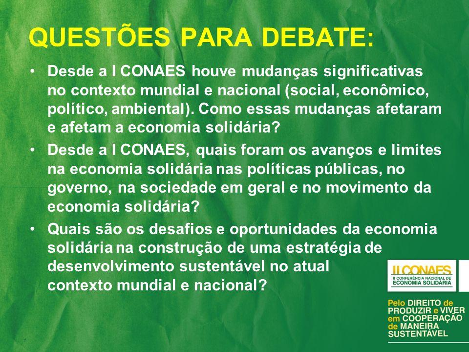 QUESTÕES PARA DEBATE: Desde a I CONAES houve mudanças significativas no contexto mundial e nacional (social, econômico, político, ambiental).