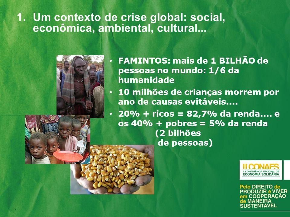 1.Um contexto de crise global: social, econômica, ambiental, cultural... FAMINTOS: mais de 1 BILHÃO de pessoas no mundo: 1/6 da humanidade 10 milhões