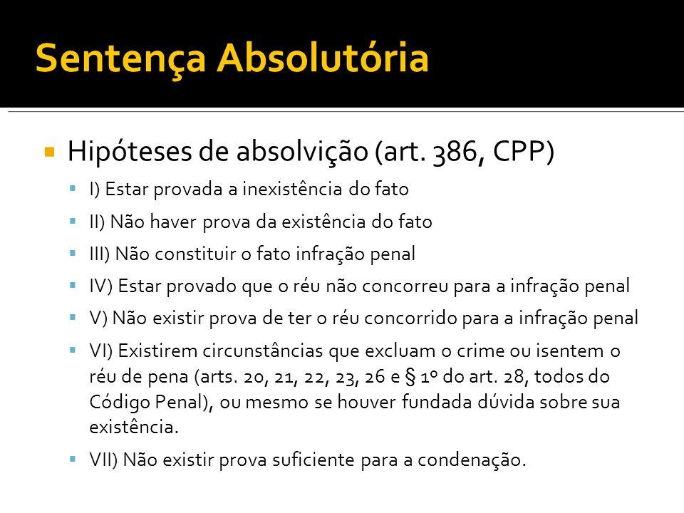 Sentença Absolutória Hipóteses de absolvição (art.