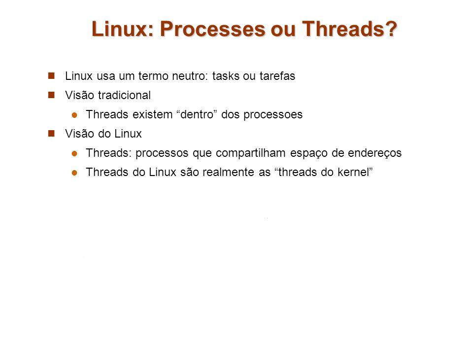 Linux: Processes ou Threads? Linux usa um termo neutro: tasks ou tarefas Visão tradicional Threads existem dentro dos processoes Visão do Linux Thread