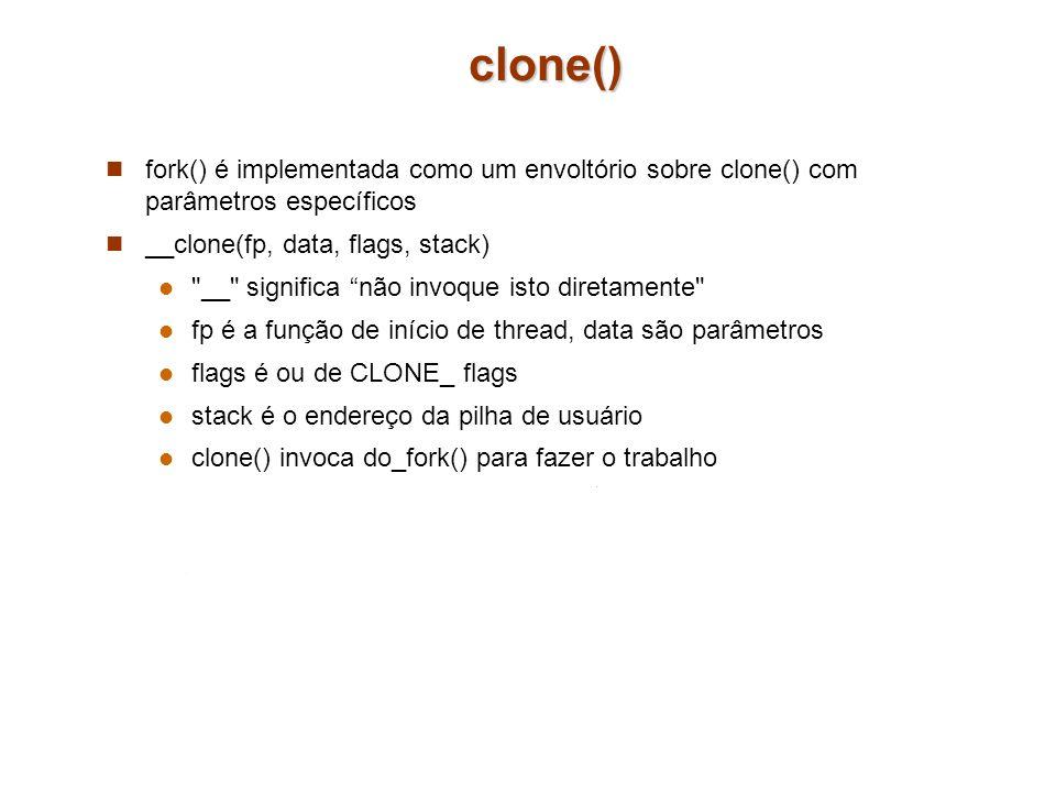clone() fork() é implementada como um envoltório sobre clone() com parâmetros específicos __clone(fp, data, flags, stack)