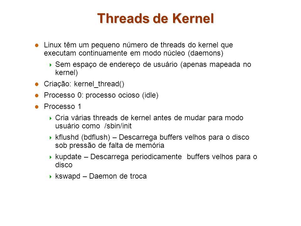 Threads de Kernel Linux têm um pequeno número de threads do kernel que executam continuamente em modo núcleo (daemons) Sem espaço de endereço de usuár