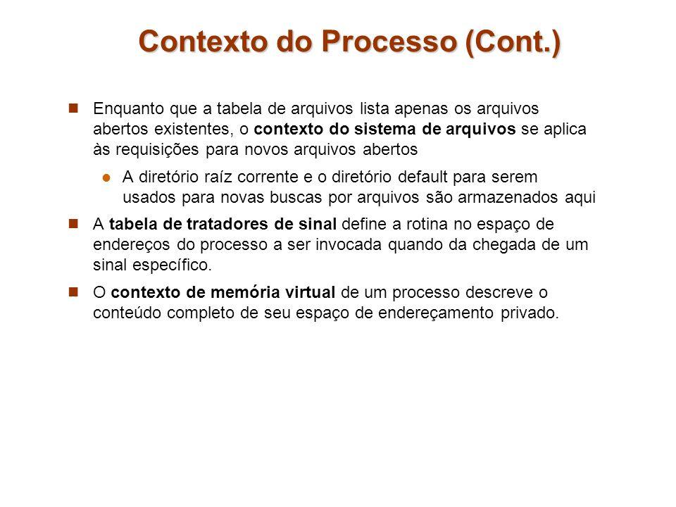 Contexto do Processo (Cont.) Enquanto que a tabela de arquivos lista apenas os arquivos abertos existentes, o contexto do sistema de arquivos se aplic