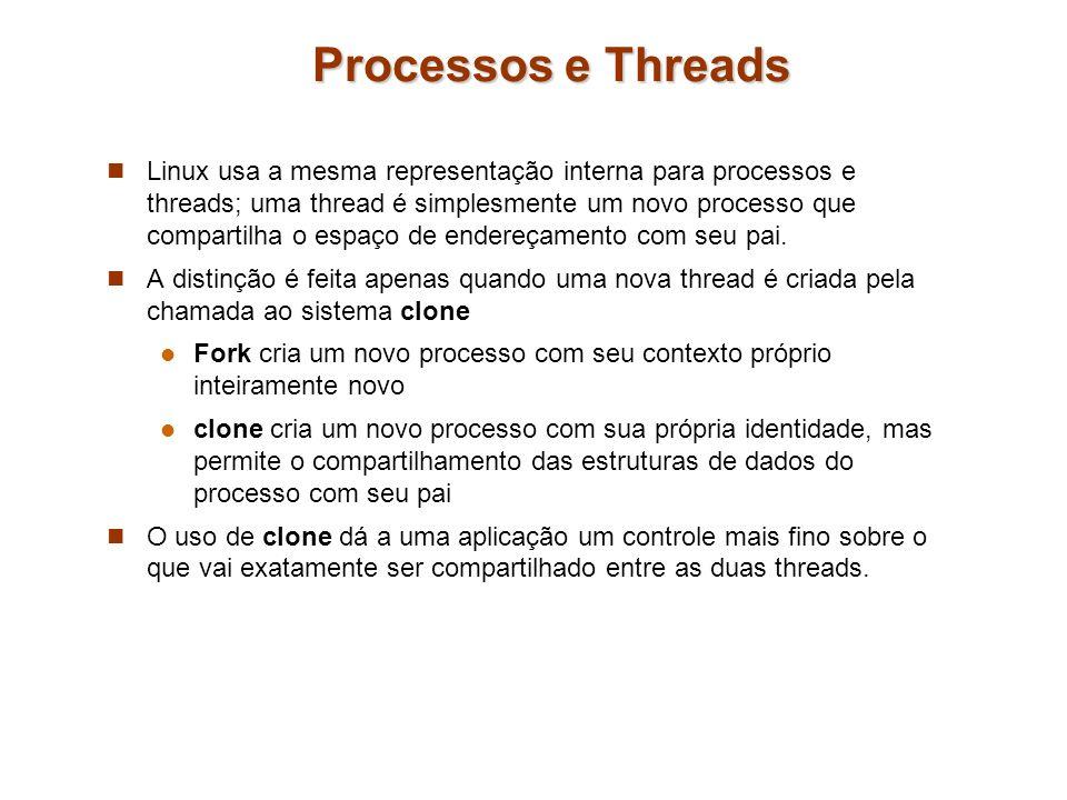 Processos e Threads Linux usa a mesma representação interna para processos e threads; uma thread é simplesmente um novo processo que compartilha o esp