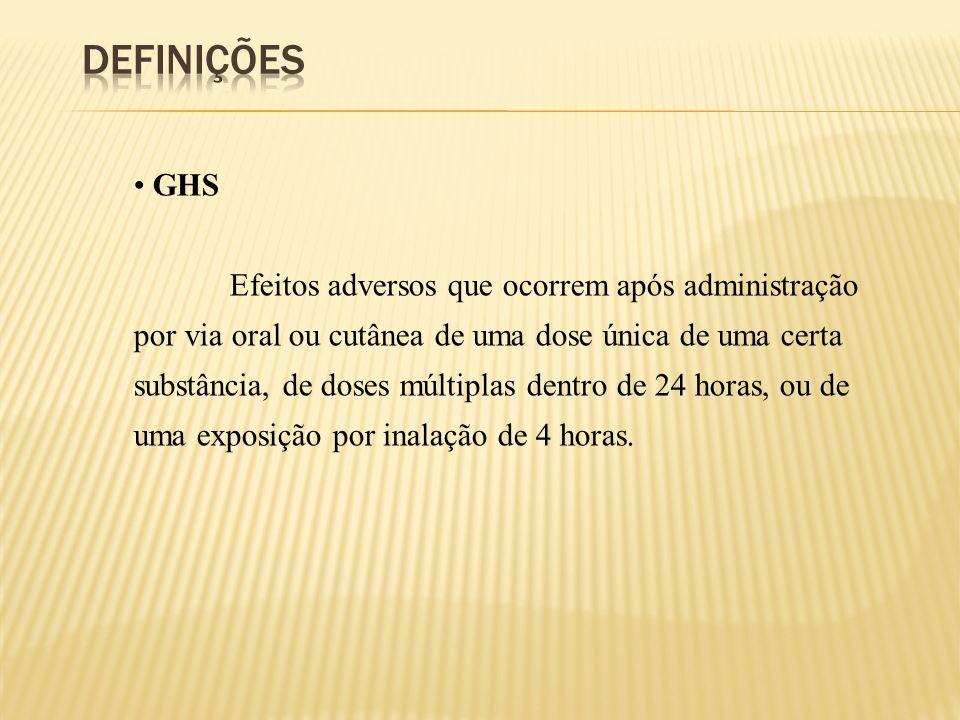 GHS Efeitos adversos que ocorrem após administração por via oral ou cutânea de uma dose única de uma certa substância, de doses múltiplas dentro de 24
