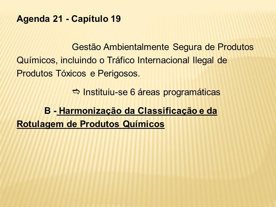 Agenda 21 - Capítulo 19 Gestão Ambientalmente Segura de Produtos Químicos, incluindo o Tráfico Internacional Ilegal de Produtos Tóxicos e Perigosos. I