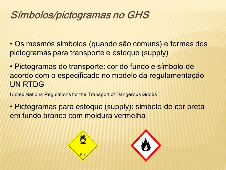 Símbolos/pictogramas no GHS Os mesmos símbolos (quando são comuns) e formas dos pictogramas para transporte e estoque (supply) Pictogramas do transpor