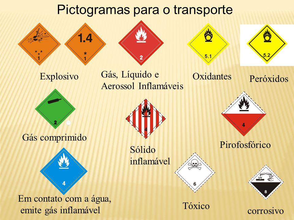 Pictogramas para o transporte Explosivo Gás, Líquido e Aerossol Inflamáveis Peróxidos Oxidantes Gás comprimido Sólido inflamável Pirofosfórico Em cont