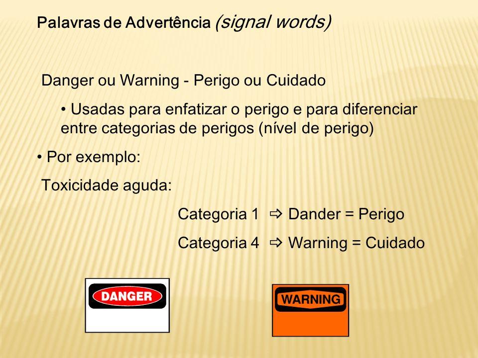 Palavras de Advertência (signal words) Danger ou Warning - Perigo ou Cuidado Usadas para enfatizar o perigo e para diferenciar entre categorias de per