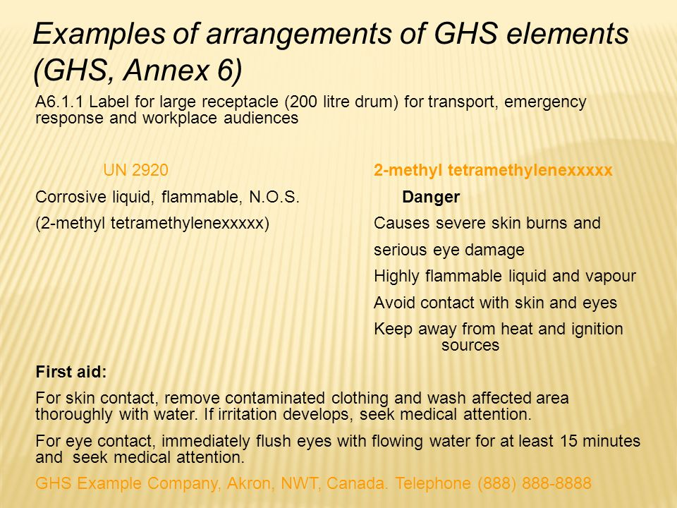 A6.1.1 Label for large receptacle (200 litre drum) for transport, emergency response and workplace audiences UN 2920 2-methyl tetramethylenexxxxx Corr