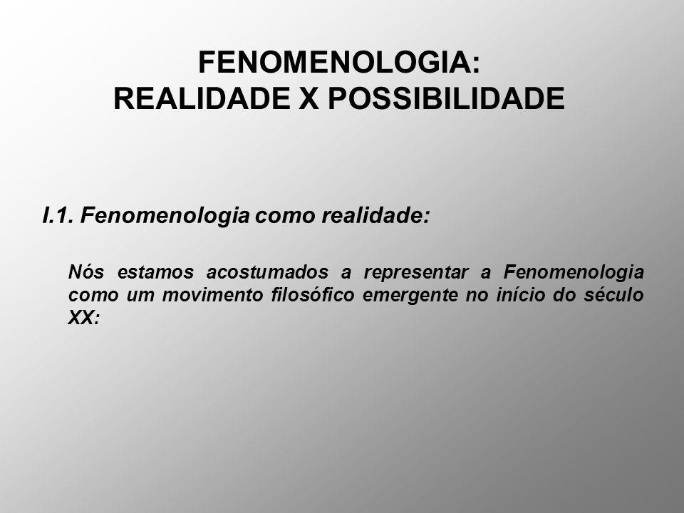 FENOMENOLOGIA: REALIDADE X POSSIBILIDADE I.1. Fenomenologia como realidade: Nós estamos acostumados a representar a Fenomenologia como um movimento fi