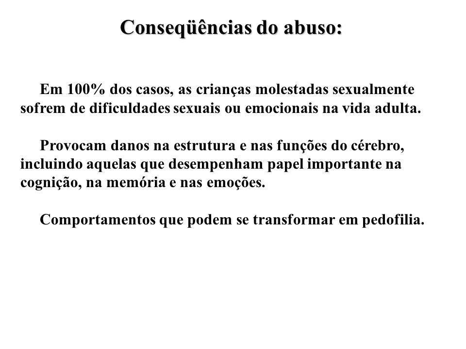 Conseqüências do abuso: Em 100% dos casos, as crianças molestadas sexualmente sofrem de dificuldades sexuais ou emocionais na vida adulta.