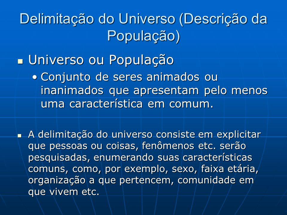 Delimitação do Universo (Descrição da População) Universo ou População Universo ou População Conjunto de seres animados ou inanimados que apresentam pelo menos uma característica em comum.Conjunto de seres animados ou inanimados que apresentam pelo menos uma característica em comum.
