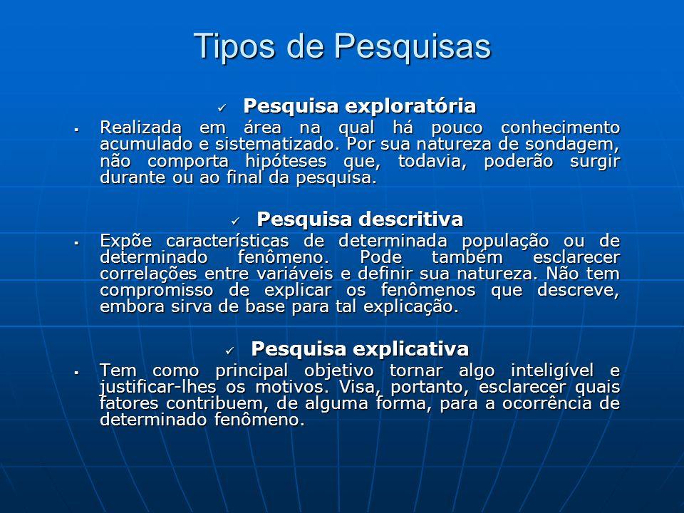 Tipos de Pesquisas Pesquisa exploratória Pesquisa exploratória Realizada em área na qual há pouco conhecimento acumulado e sistematizado.