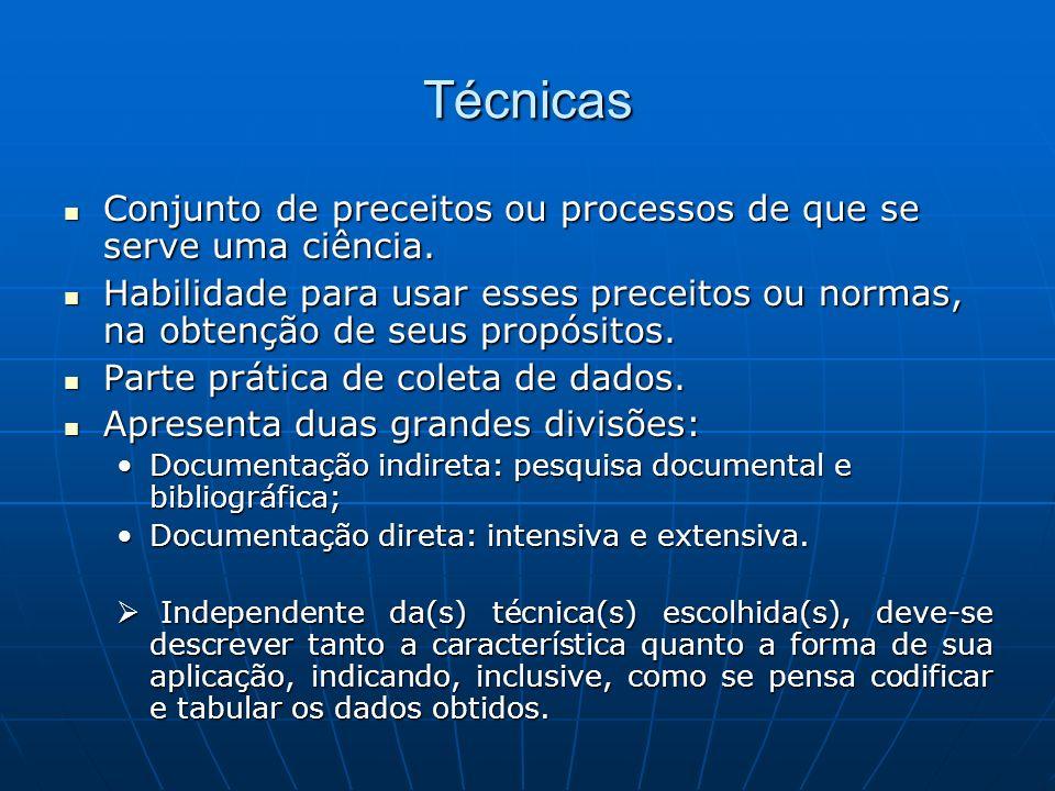 Técnicas Conjunto de preceitos ou processos de que se serve uma ciência.