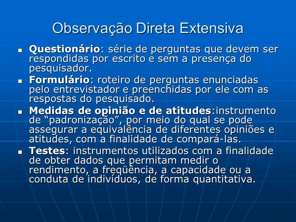 Observação Direta Extensiva Questionário: série de perguntas que devem ser respondidas por escrito e sem a presença do pesquisador.
