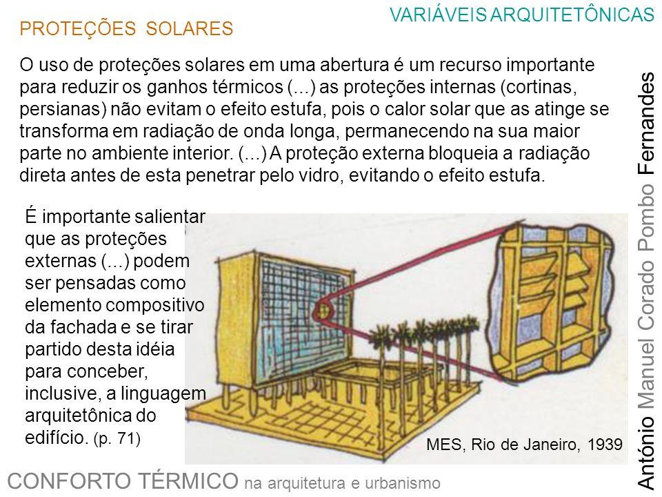 CONFORTO TÉRMICO na arquitetura e urbanismo António Manuel Corado Pombo Fernandes VARIÁVEIS ARQUITETÔNICAS PROTEÇÕES SOLARES O uso de proteções solare