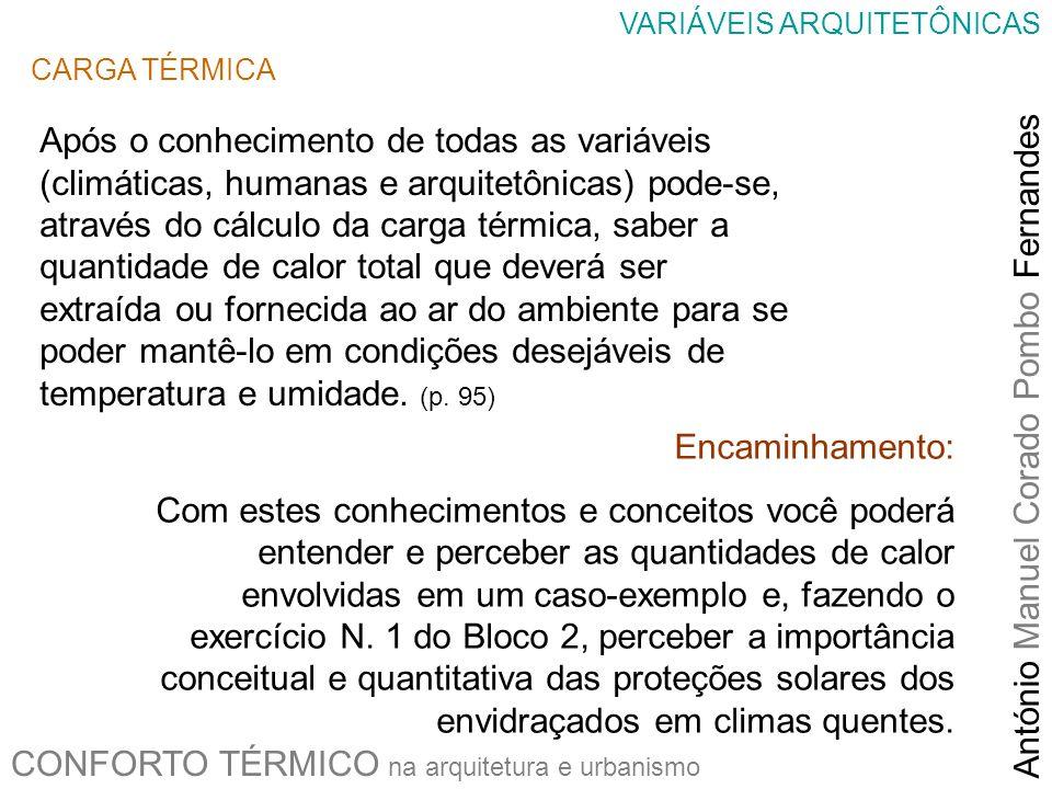 CONFORTO TÉRMICO na arquitetura e urbanismo António Manuel Corado Pombo Fernandes VARIÁVEIS ARQUITETÔNICAS CARGA TÉRMICA Após o conhecimento de todas