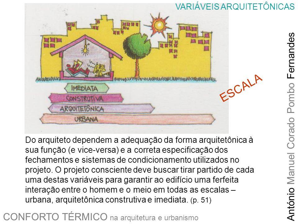 CONFORTO TÉRMICO na arquitetura e urbanismo António Manuel Corado Pombo Fernandes Do arquiteto dependem a adequação da forma arquitetônica à sua funçã