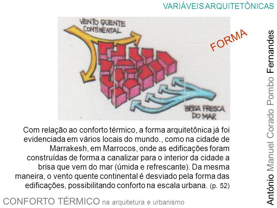 CONFORTO TÉRMICO na arquitetura e urbanismo António Manuel Corado Pombo Fernandes VARIÁVEIS ARQUITETÔNICAS Com relação ao conforto térmico, a forma ar