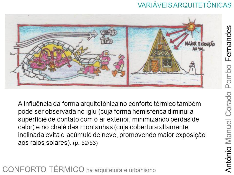 CONFORTO TÉRMICO na arquitetura e urbanismo António Manuel Corado Pombo Fernandes VARIÁVEIS ARQUITETÔNICAS A influência da forma arquitetônica no conf