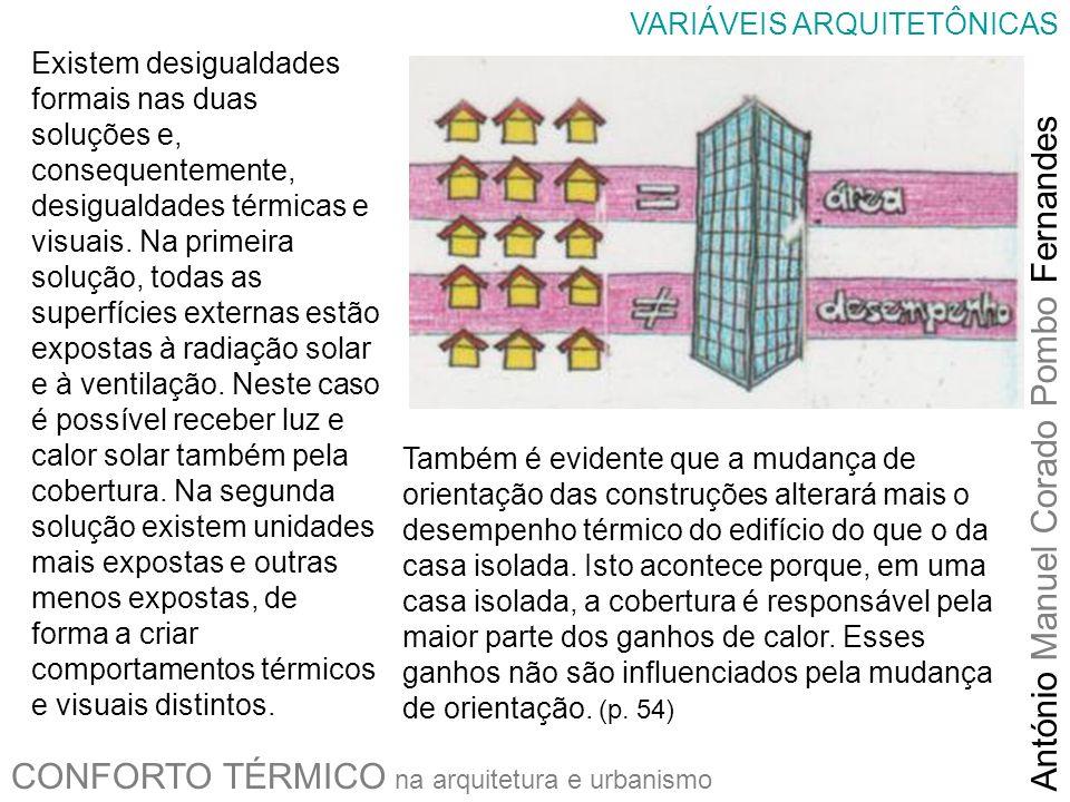 CONFORTO TÉRMICO na arquitetura e urbanismo António Manuel Corado Pombo Fernandes VARIÁVEIS ARQUITETÔNICAS Existem desigualdades formais nas duas solu