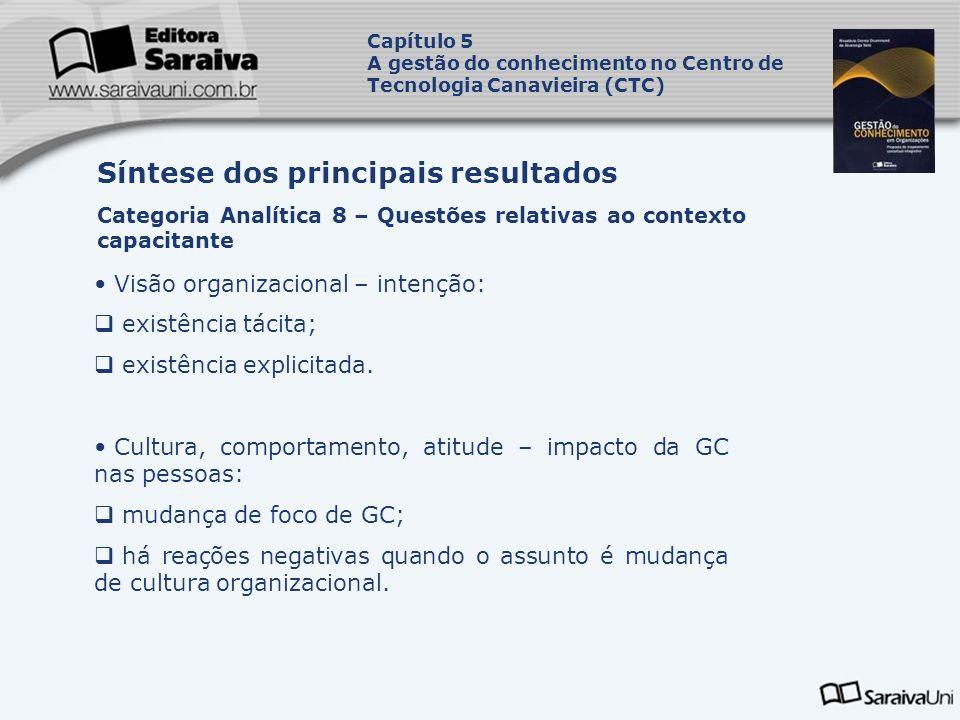 Visão organizacional – intenção: existência tácita; existência explicitada. Cultura, comportamento, atitude – impacto da GC nas pessoas: mudança de fo