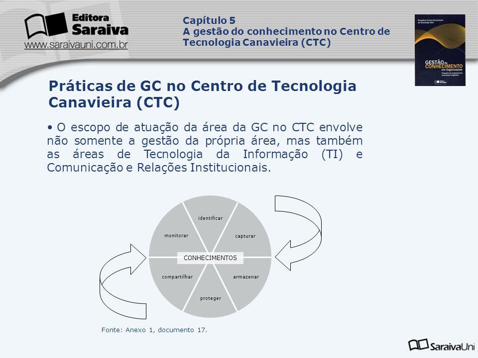 O escopo de atuação da área da GC no CTC envolve não somente a gestão da própria área, mas também as áreas de Tecnologia da Informação (TI) e Comunicação e Relações Institucionais.