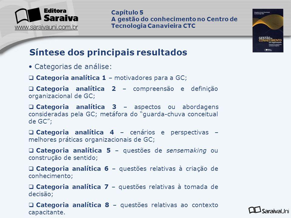 Síntese dos principais resultados Capítulo 5 A gestão do conhecimento no Centro de Tecnologia Canavieira CTC Categorias de análise: Categoria analític