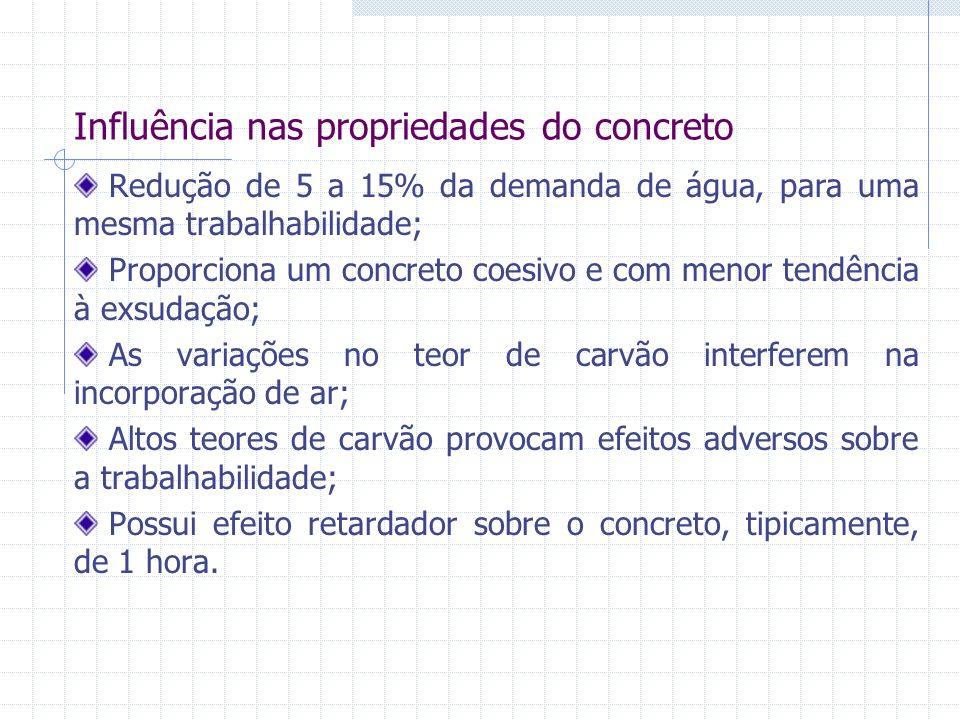Influência nas propriedades do concreto Redução de 5 a 15% da demanda de água, para uma mesma trabalhabilidade; Proporciona um concreto coesivo e com