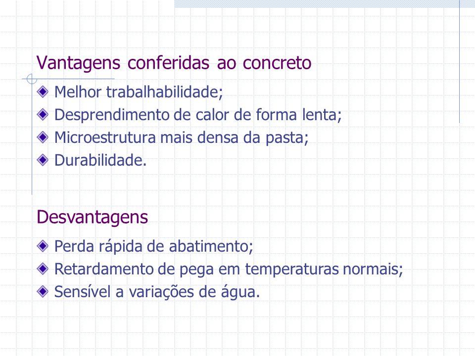 Vantagens conferidas ao concreto Melhor trabalhabilidade; Desprendimento de calor de forma lenta; Microestrutura mais densa da pasta; Durabilidade. De