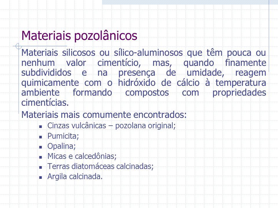Materiais pozolânicos Materiais silicosos ou sílico-aluminosos que têm pouca ou nenhum valor cimentício, mas, quando finamente subdivididos e na prese