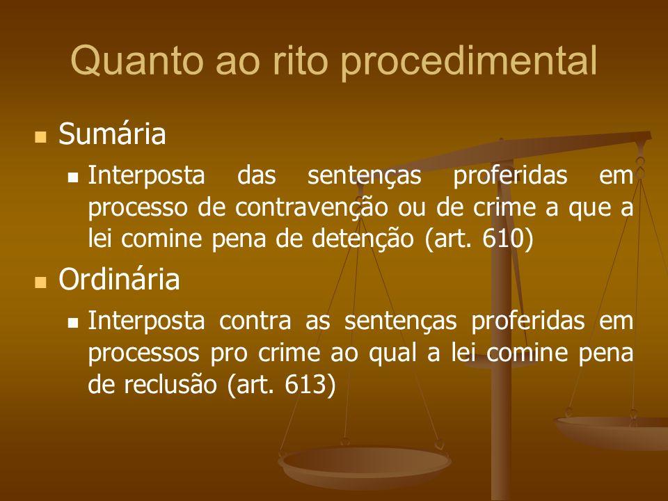Quanto ao rito procedimental Sumária Interposta das sentenças proferidas em processo de contravenção ou de crime a que a lei comine pena de detenção (art.