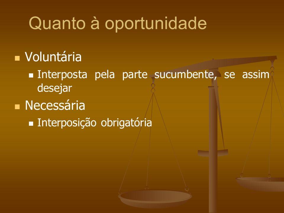 Quanto à oportunidade Voluntária Interposta pela parte sucumbente, se assim desejar Necessária Interposição obrigatória