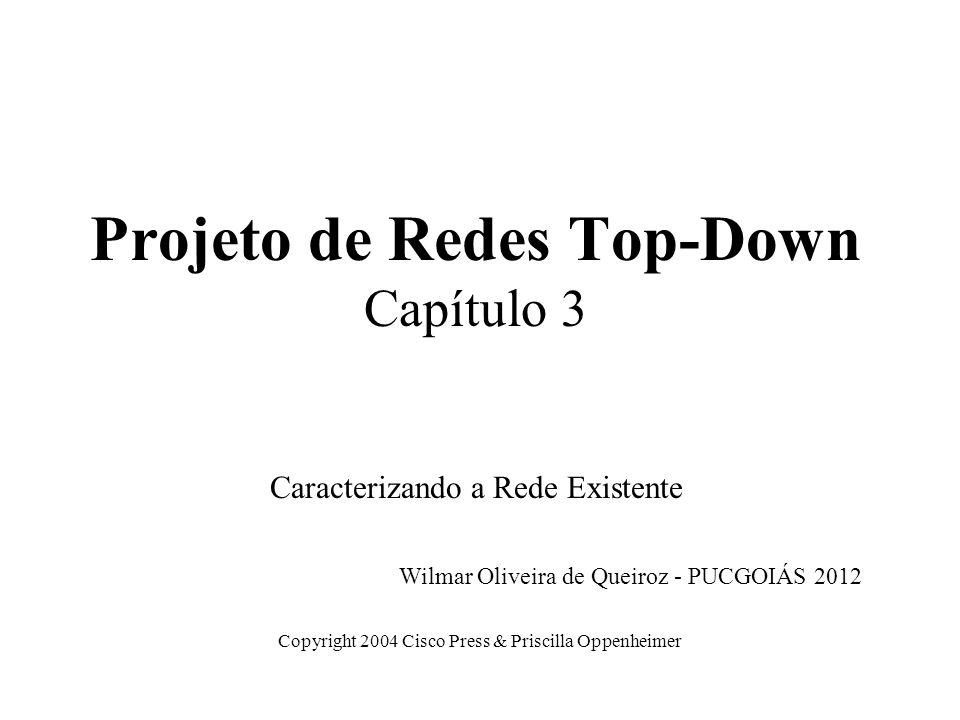 Projeto de Redes Top-Down Capítulo 3 Caracterizando a Rede Existente Copyright 2004 Cisco Press & Priscilla Oppenheimer Wilmar Oliveira de Queiroz - P