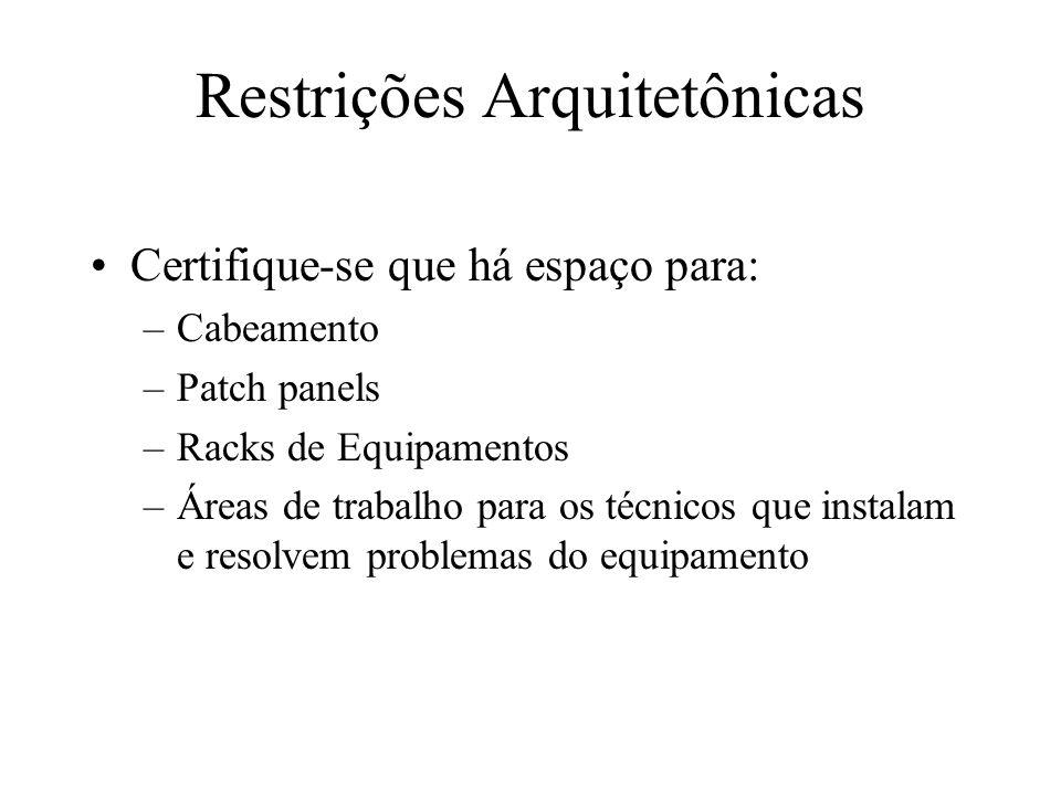 Restrições Arquitetônicas Certifique-se que há espaço para: –Cabeamento –Patch panels –Racks de Equipamentos –Áreas de trabalho para os técnicos que i