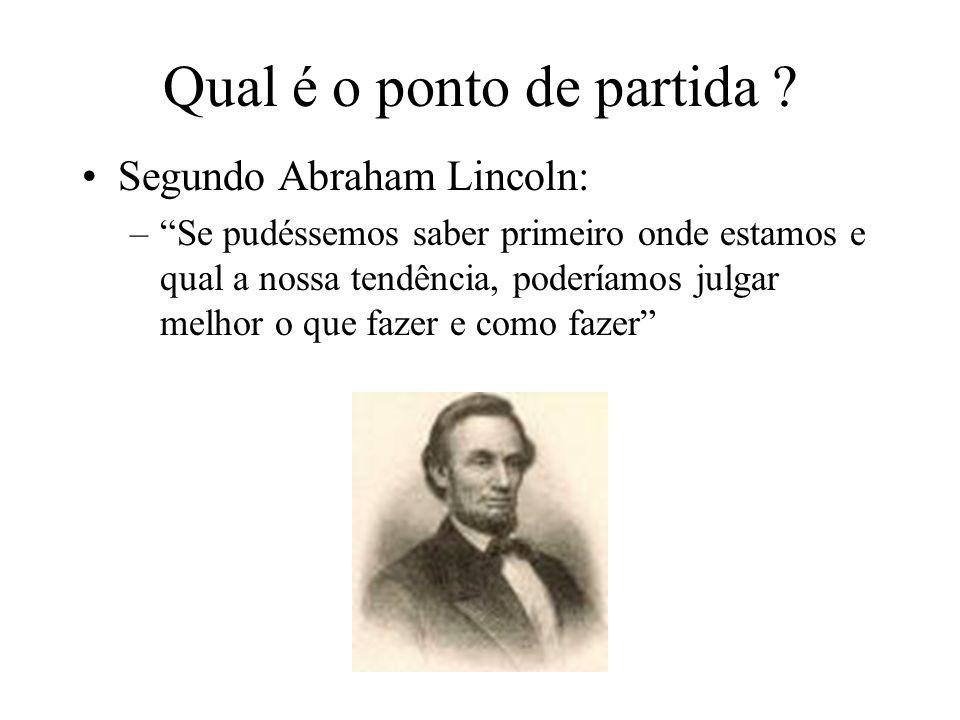 Qual é o ponto de partida ? Segundo Abraham Lincoln: –Se pudéssemos saber primeiro onde estamos e qual a nossa tendência, poderíamos julgar melhor o q