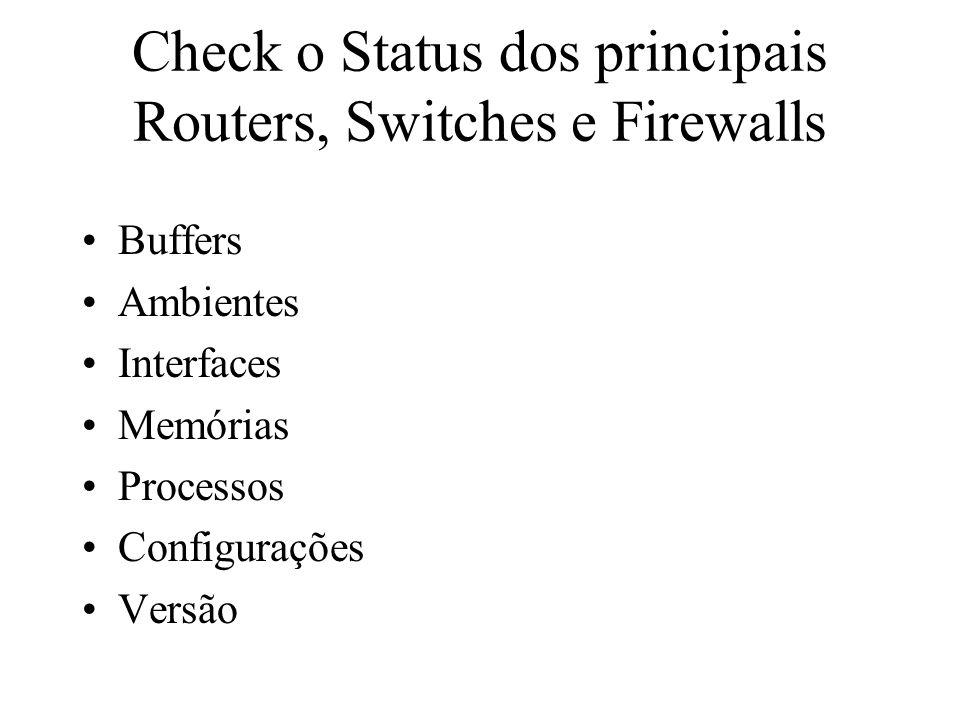 Check o Status dos principais Routers, Switches e Firewalls Buffers Ambientes Interfaces Memórias Processos Configurações Versão
