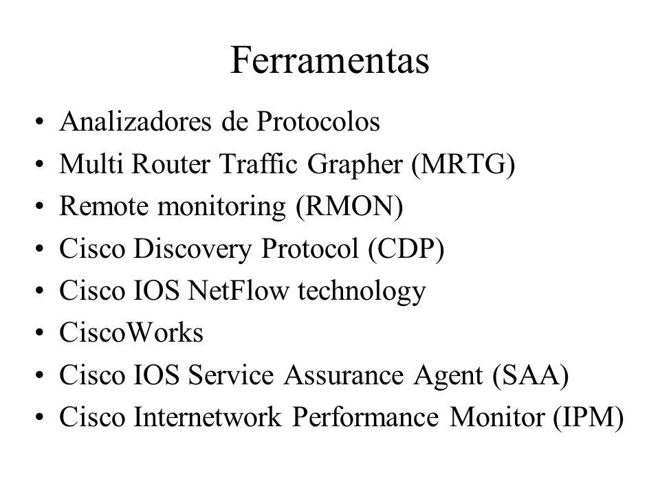 Ferramentas Analizadores de Protocolos Multi Router Traffic Grapher (MRTG) Remote monitoring (RMON) Cisco Discovery Protocol (CDP) Cisco IOS NetFlow t