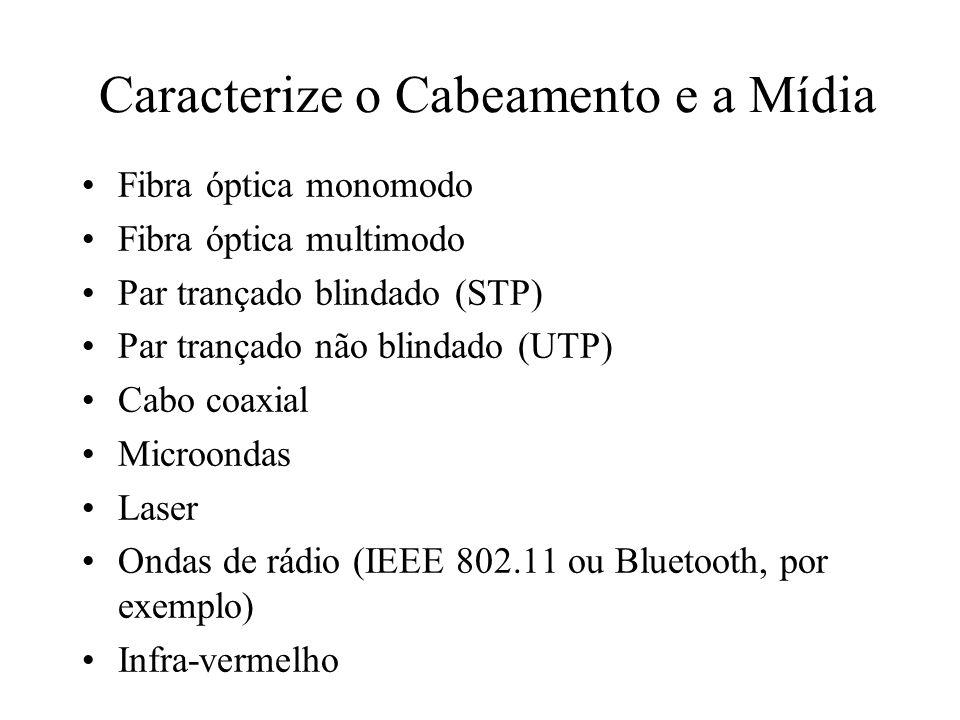 Caracterize o Cabeamento e a Mídia Fibra óptica monomodo Fibra óptica multimodo Par trançado blindado (STP) Par trançado não blindado (UTP) Cabo coaxi