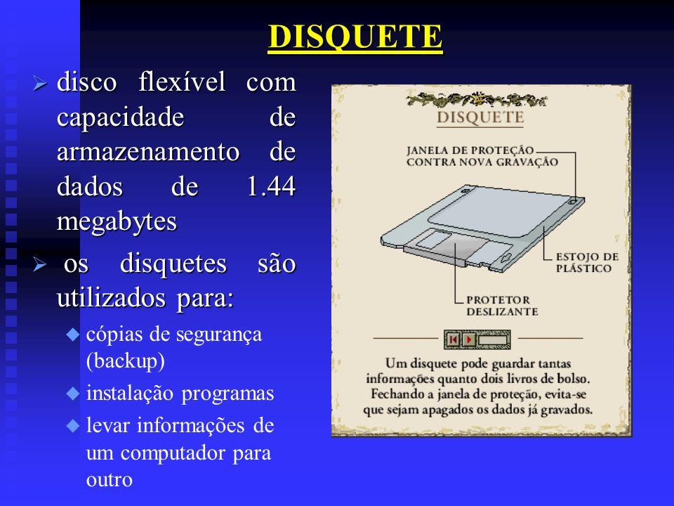 DISQUETE disco flexível com capacidade de armazenamento de dados de 1.44 megabytes disco flexível com capacidade de armazenamento de dados de 1.44 meg