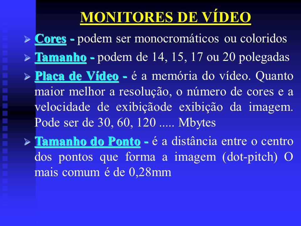 MONITORES DE VÍDEO Cores - Cores - podem ser monocromáticos ou coloridos Tamanho - Tamanho - podem de 14, 15, 17 ou 20 polegadas Placa de Vídeo - Plac