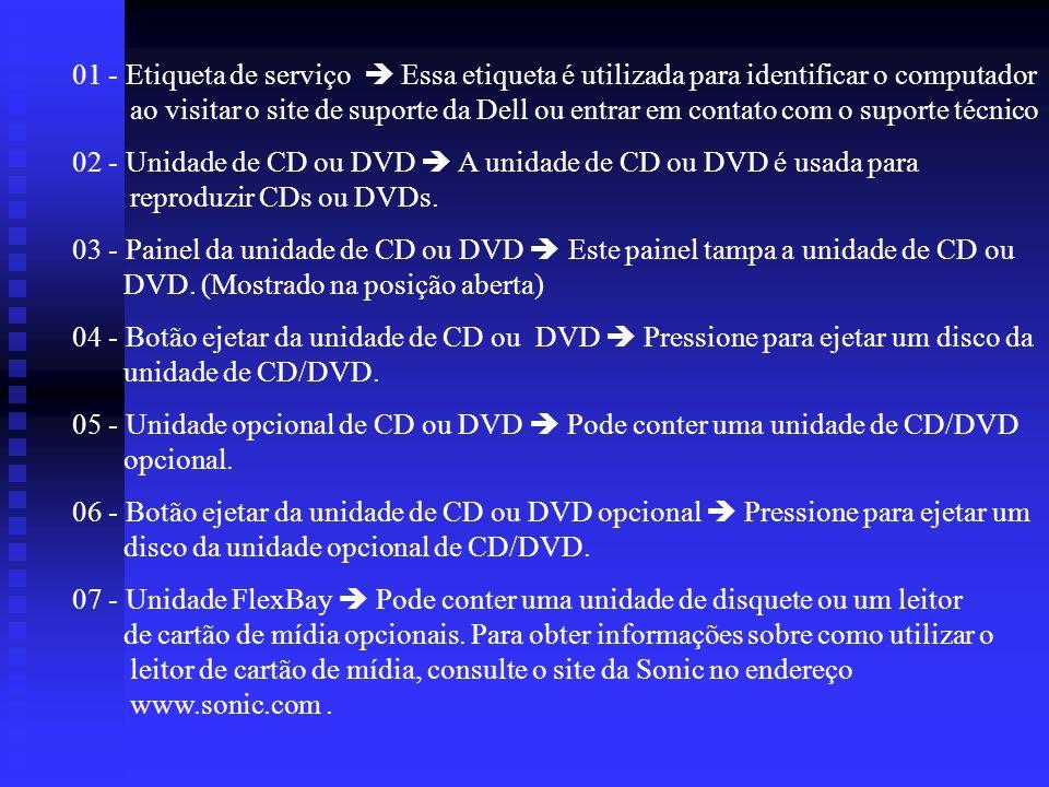 01 - Etiqueta de serviço Essa etiqueta é utilizada para identificar o computador ao visitar o site de suporte da Dell ou entrar em contato com o supor